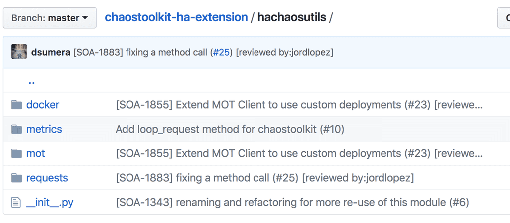 Screenshot of HomeAway's GitHub project for Chaos Toolkit extensions